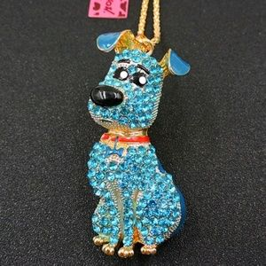 Betsey Johnson Blue Crystal Dog Pendant Necklace